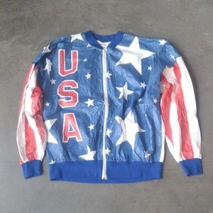 Vintage USA Red White Blue Flag Olympic Jacket XL